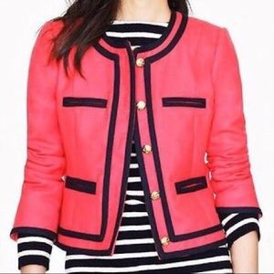 J Crew Double Serge Lady Piped Button Blazer Coral